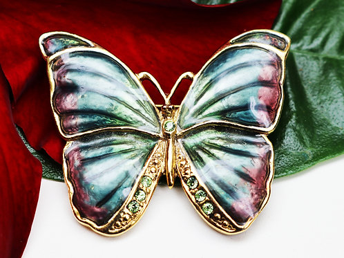 SFJ Butterfly Brooch ~ Enamel Gold Plated Diamanté Crystals