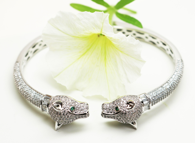 Silver & Crystal Panther Bracelet
