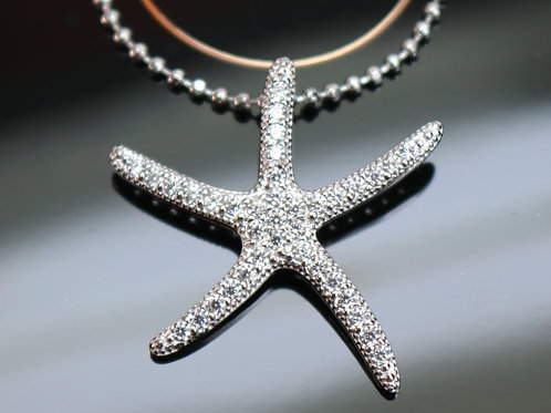 SILVER STARFISH PENDANT *signed* White Topaz Encrusted .925 Sterling Silver