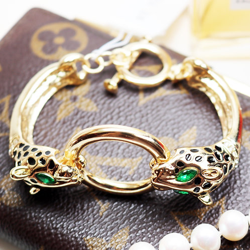 DAZZLING St. Thomas Gold Panther Doorknocker Toggle Bracelet
