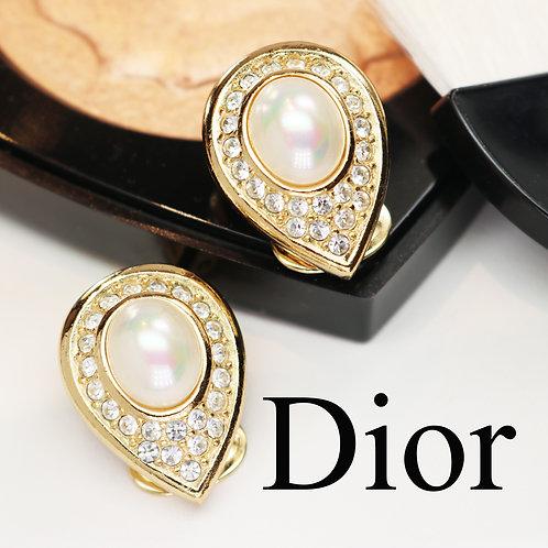 ⚜️ Vintage CHRISTIAN DIOR© Crystal & Pearl Earrings