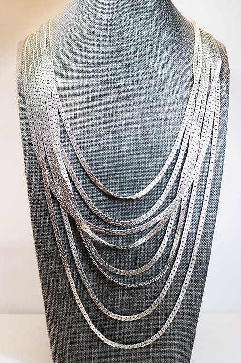 VINTAGE 1980s MONET NECKLACE *signed* Egyptian Style Triple Silver Plated