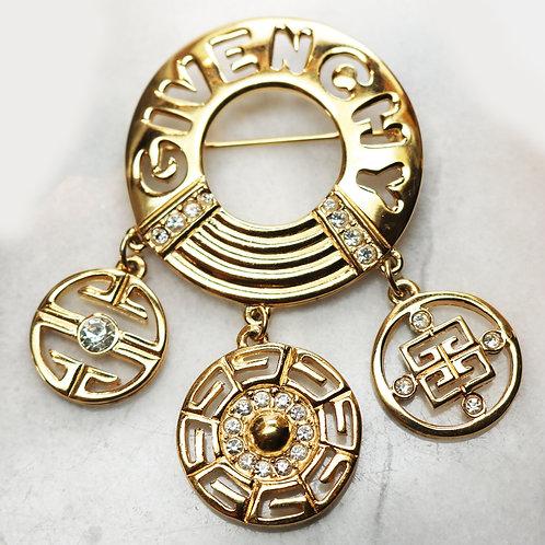 ⚜️Vintage GIVENCHY Crystal Encrusted Logo Brooch