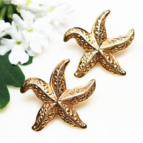 VINTAGE 1987 AVON SOCIETY Gold Plated Starfish Pierced or Clip-On Earrings