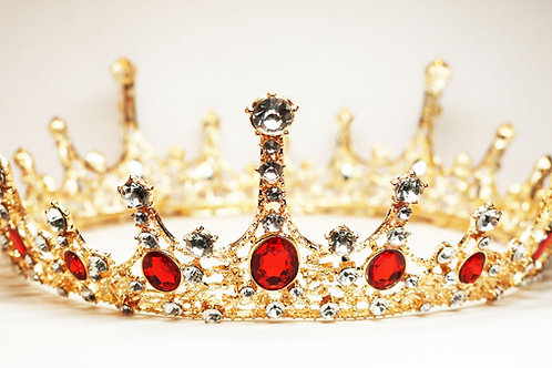 Imperial Ruby Red Crystal Embellished Royal Gold Crown