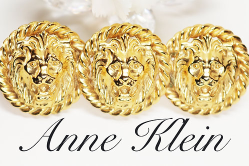 VINTAGE 1980s ANNE KLEIN 18K Gold Plated Triple Lion's Head Statement Brooch