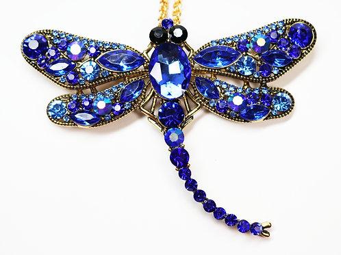 KENNETH JAY LANE DRAGONFLY *signed* Pendant/Brooch Cobalt Blue Austrian Crystals