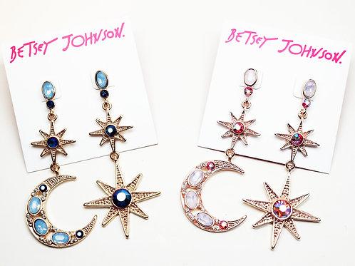 Betsey Johnson Moon & Stars Earrings