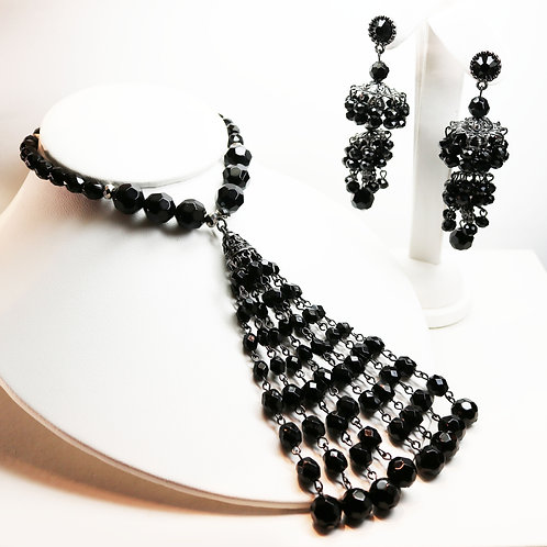 VINTAGE BADGLEY MISCHKA *signed* American Glamour Black Spinnel Chandeliers