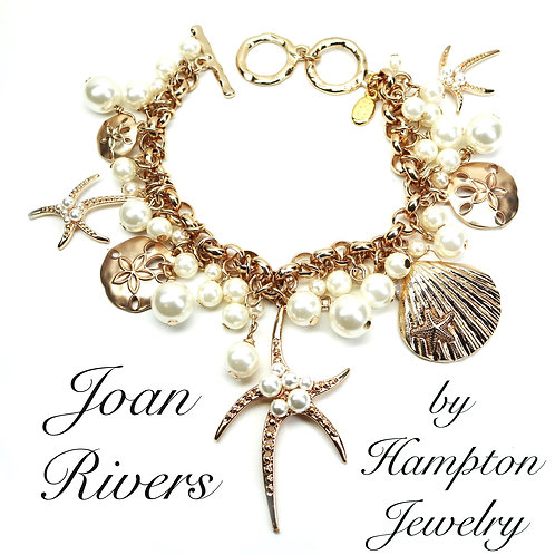 Joan Rivers Bracelet *signed* 'Classics Collection' Gold Tone & Simulated Pearls