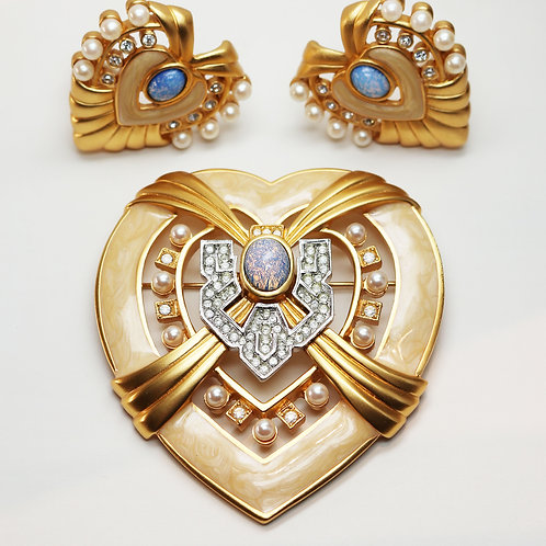 """ELIZABETH TAYLOR's """"Heart of Hollywood"""" *signed* Opal Earrings & Brooch Set"""