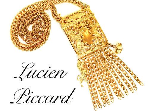 VINTAGE 1970s LUCIEN PICCARD *signed* Haute Couture Runway Pendant Necklace