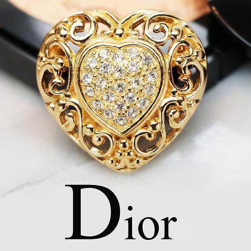💖 Vintage CHRISTIAN DIOR© Crystal Heart Brooch 💝