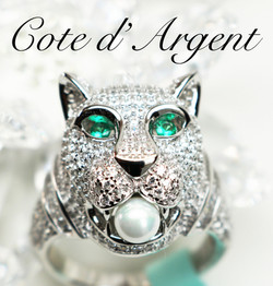 Silver Crystal Panther Ring