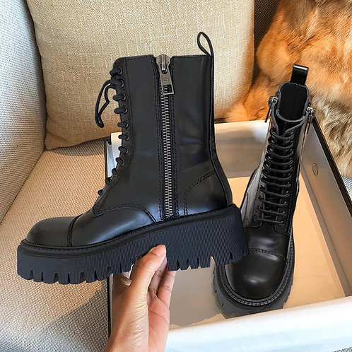 Sleek Black Combat Boots