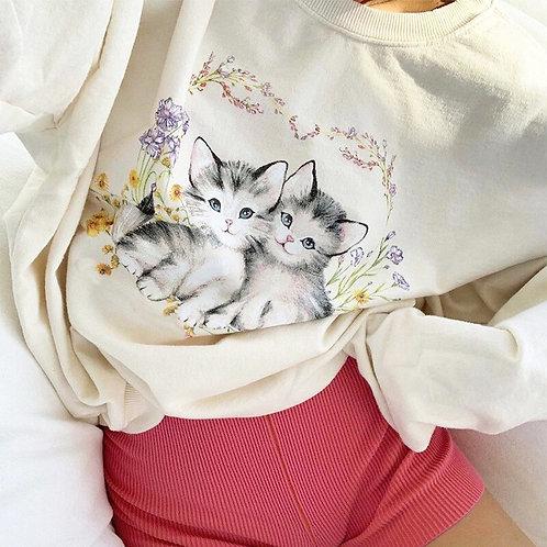 Oversized Cat Print Sweatshirt