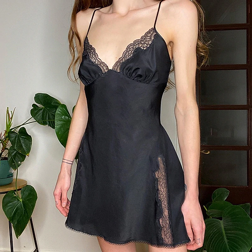 Black Slip Dress With Lace Detailing