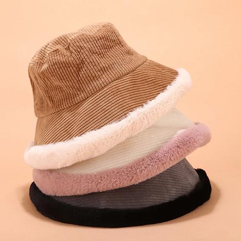 Fluffy Corduroy Bucket Hat