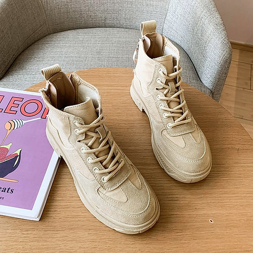 Beige Lace-up Mid Heel Ankle Boots