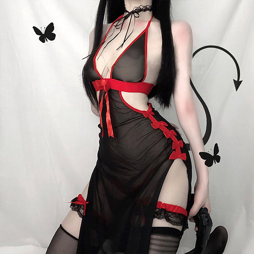 Backless Sheer Devil Dress