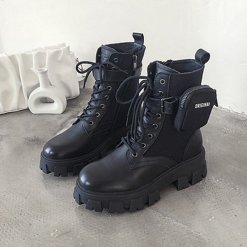 Combat Style Boots With Original Pouch