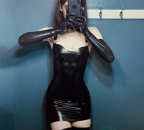 Black Skin-Tight PU Dress