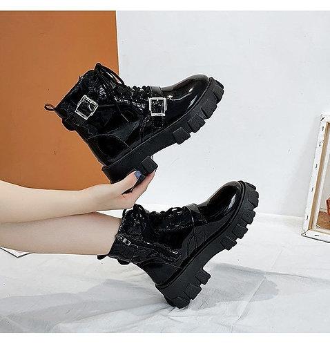 Buckled Platform Ankle Boots