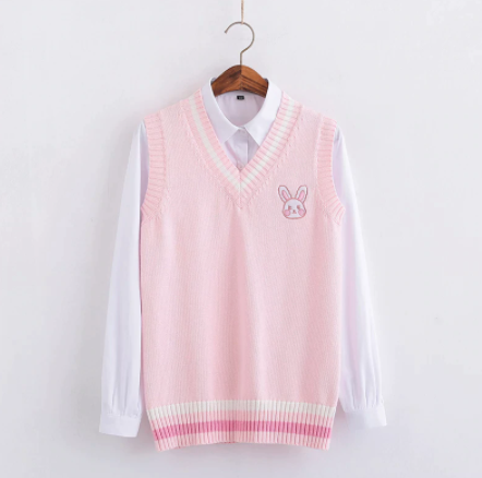Pink Rabbit Embroidered Sweater Vest