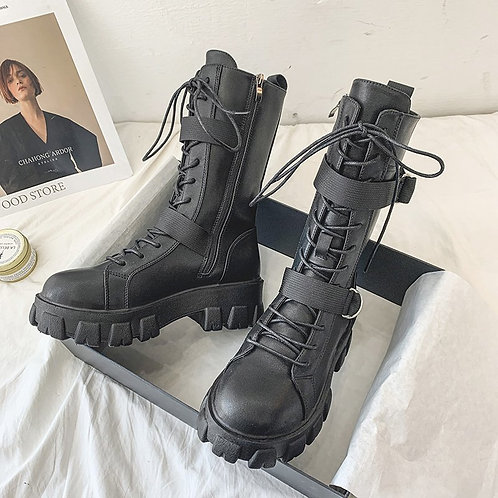 Mid Calf Punk Leather Boots