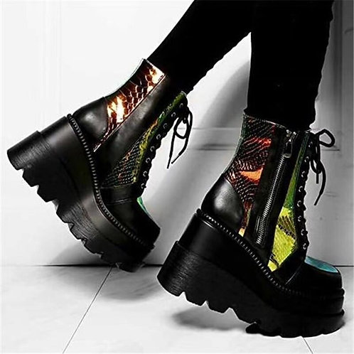 Holographic Wedge Ankle Booties