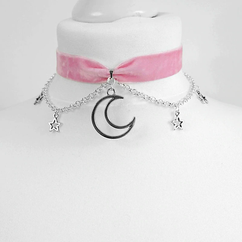 Pink Velvet Moon and Stars Choker