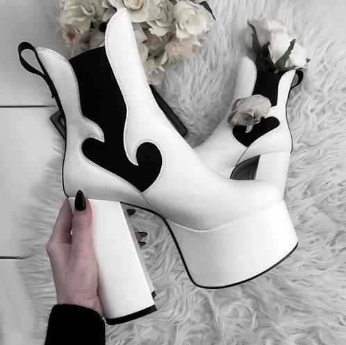Chunky Black & White Heels