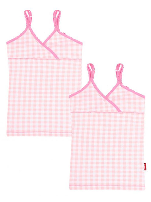 Claesens Girls Top 2-Pack Vichy Pink