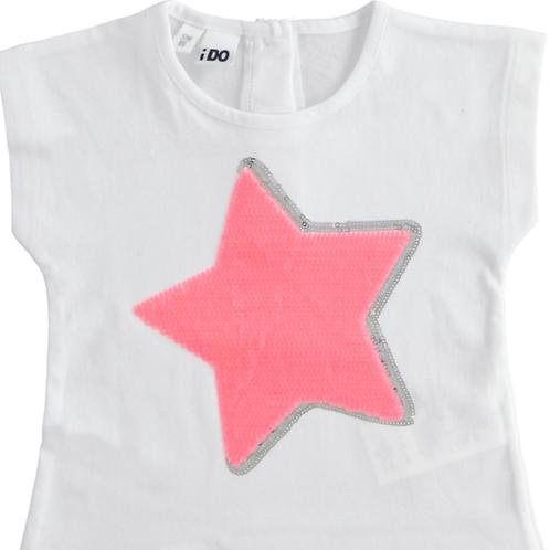 iDo T-Shirt White Pink Star