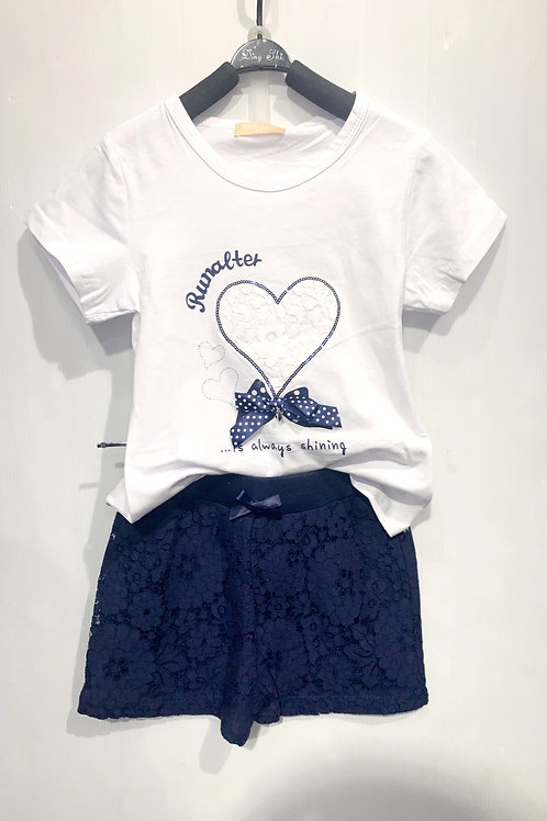 T-Shirt en Short White Navy Hart