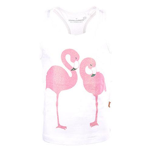 Stones and Bones Top Flamingo's White
