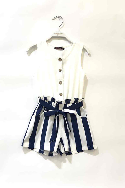 Playsuit White Navy Stripes