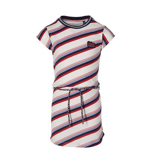 Quapi Dress Stripes White Navy Red