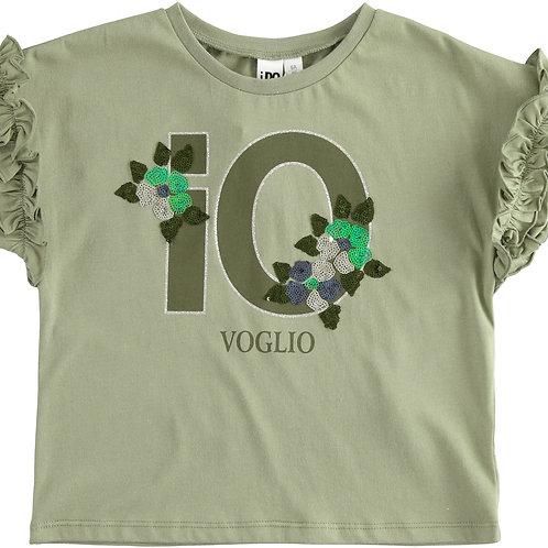 iDo T-Shirt Khaki 10 Flower met Franje