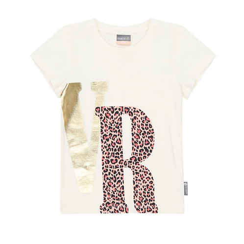 Vinrose T-Shirt Ecru VR Leopard