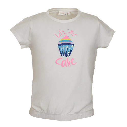 Mini Rebels T-Shirt Let's Cake Ecru