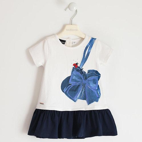 Sarabanda Dress White Navy Strik