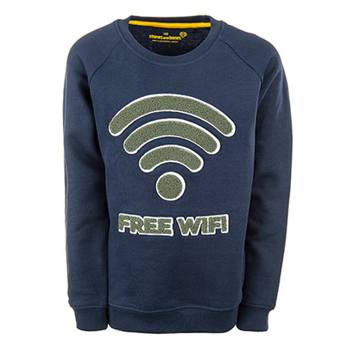 Stones and Bones Sweater Navy Free Wifi