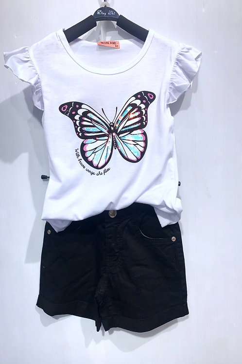 T-Shirt en Short White Black Vlinder