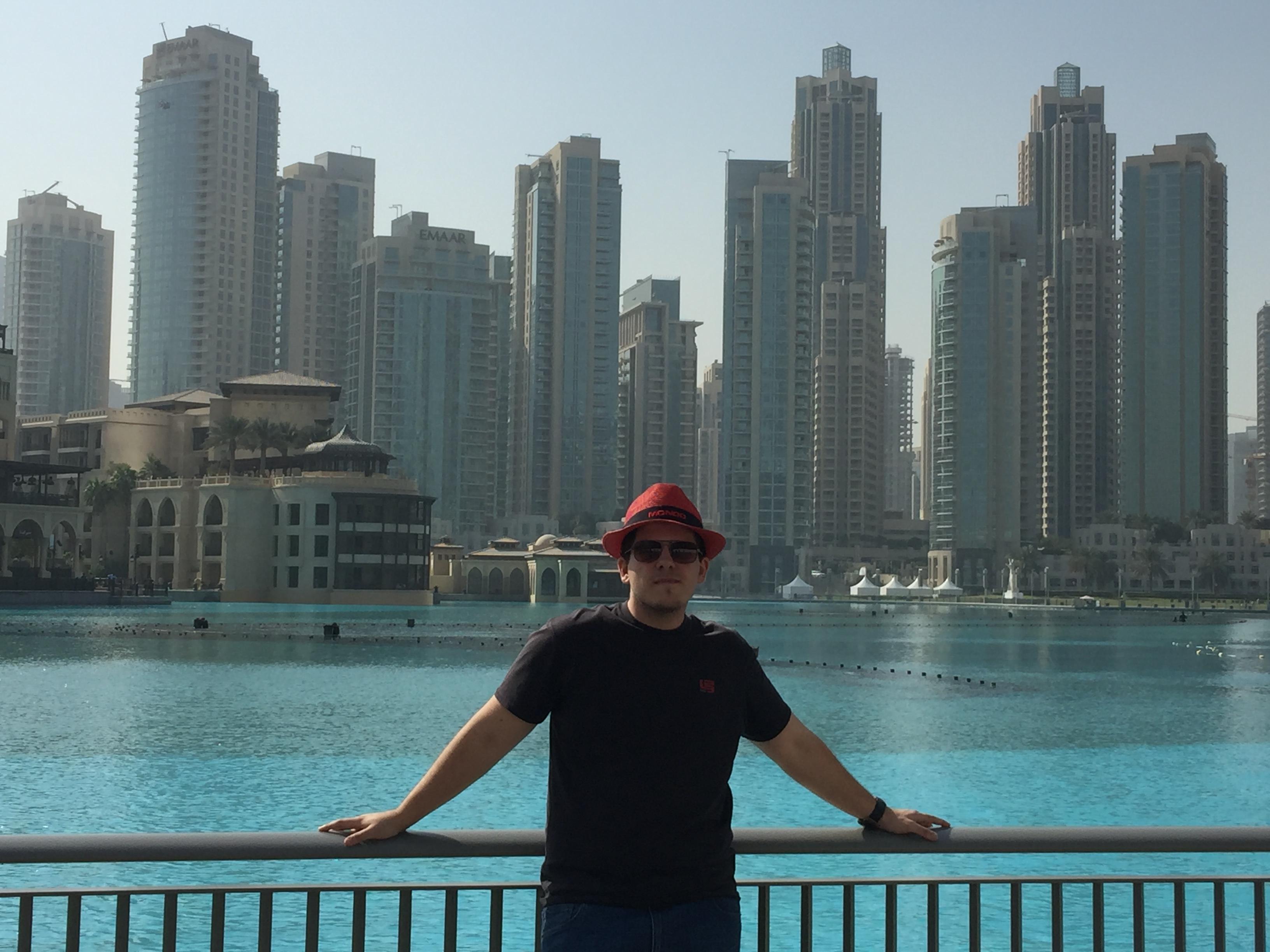 Mitch in front of Burj Khalifa Lake