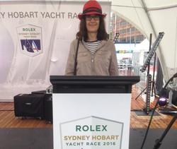 Karen behind the Rolex podium stand