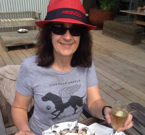 Karen enjoying some oysters