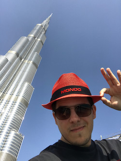 Mitch in front of the Burj Khalifa