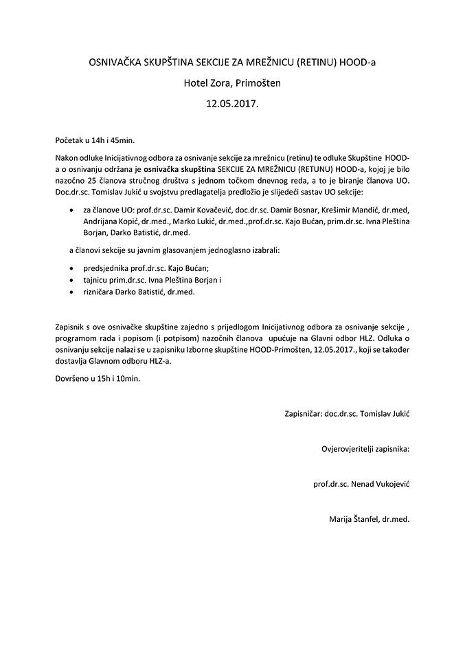OSNIVAČKA SKUPŠTINA SEKCIJE ZA MREŽNICU-
