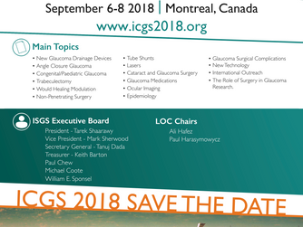 9th International Congress on Glaucoma Surgery in Montreal, September 6-8, 2018